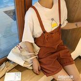 背帶褲女寬鬆學生韓版學院風bf工裝連體短褲夏原宿背帶闊腿褲  朵拉朵衣櫥