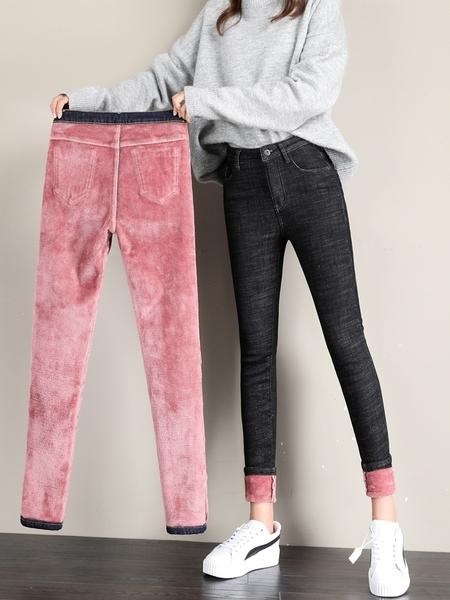 加絨牛仔褲 加絨加厚牛仔褲女2021冬季新款高腰九分顯瘦保暖緊身小腳外穿長褲 薇薇