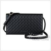 GUCCI經典Guccissima系列雙G壓紋迷你LOGO牛皮釦式斜背包(黑)