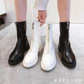 前拉錬短靴女冬新款瘦瘦靴中筒白色皮靴英倫風馬丁靴春秋單靴 創意家居生活館