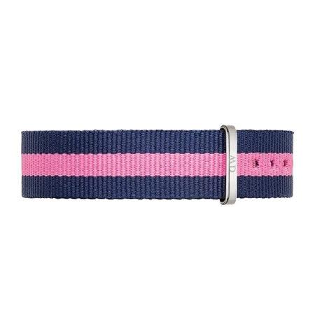【公司貨】DW Daniel Wellington 藍粉紅帆布錶帶 尼龍錶帶 銀扣 18mm DW00200049錶帶 現貨!