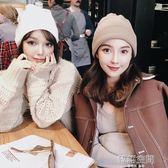 羊毛卷邊毛線帽女 純色保暖針織帽包頭帽2018秋季新款