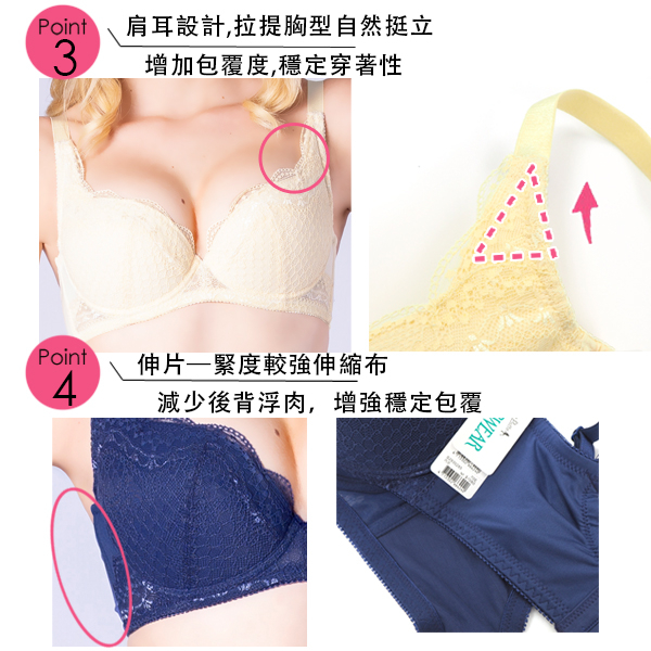 思薇爾-晴星系列B-F罩蕾絲包覆內衣(晨光黃)