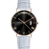 Max Max 義大利時尚羅馬風情簡約腕錶-灰X黑