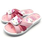 《7+1童鞋》HELLO KITTY   蝴蝶結   輕量 防水 拖鞋  E049    桃色
