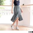 《CA1571》高含棉下擺不對稱拼接波浪裙襬中長裙 OrangeBear