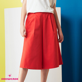 【SHOWCASE】休閒運動風字母腰帶素色顯瘦寬褲(紅色)
