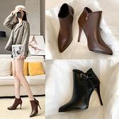 高跟鞋 秋冬新款短靴女切爾西時尚百搭黑色細跟短靴高跟鞋尖頭馬丁靴 港仔HS