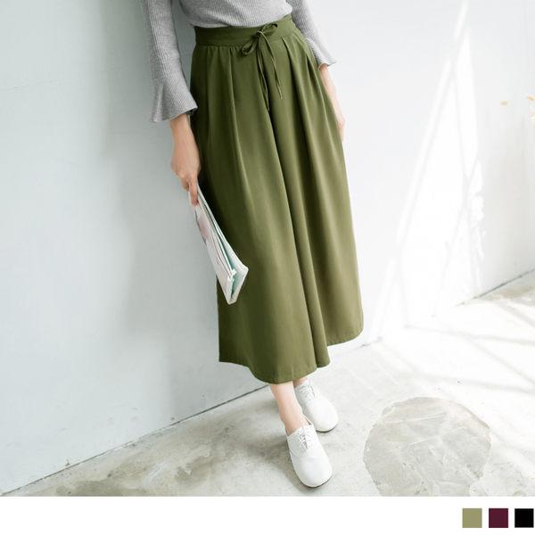 OB嚴選《BA1843-》純色質感面料打摺設計寬褲.3色--適 S~L