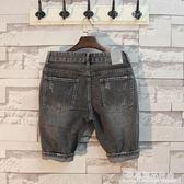 日系潮牌煙灰色復古直筒修身牛仔短褲男式休閒五分褲