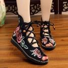 春夏季老北京布鞋民族風繡花鞋女靴平底女鞋系帶涼鞋魚嘴單鞋夏靴 快速出貨