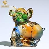 琉璃十二生肖小豬擺件一對招財可愛生日禮物小擺設品客廳家居飾品