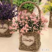 絹花花束塑料仿真假花花藝套裝家居飾品擺件擺設客廳編織小花盆栽 DJ4709