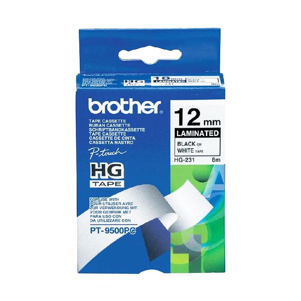 brother 高速列印標籤帶 HG-231 白底黑字 12mm