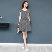 中年韓版短袖棉綢連身裙夏時尚外穿高貴洋氣顯瘦綿綢媽媽遮肚裙子一米陽光
