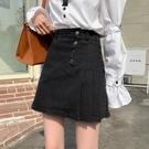 短裙 設計感小眾牛仔裙春裝2021新款時尚A字裙短裙小個子顯瘦半身裙女