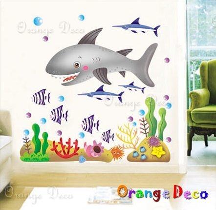 壁貼【橘果設計】鯊魚 DIY組合壁貼/牆貼/壁紙/客廳臥室浴室幼稚園室內設計裝潢