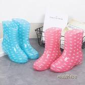 冬夏季中筒保暖雨鞋女防滑防水雨靴女平底廚房水鞋膠鞋水靴女鞋潮「時尚彩虹屋」