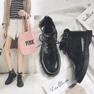 短靴 韓版平底短靴英倫風學生馬丁靴厚底機車靴chic女靴子 『新年禮物』