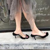 春秋毛毛高跟拖鞋女夾毛毛拖鞋