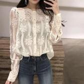 2019春裝新款韓國ulzzang一字領露肩蕾絲打底衫超仙網紗上衣小衫