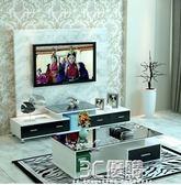 電視櫃茶幾組合客廳現代簡約小戶型多功能鋼化玻璃伸縮電視機櫃igo【中秋全館免運】