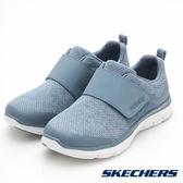 SKECHERS FLEX APPEAL 2.0 女鞋 休閒 柔軟 針織 輕量 避震 緩衝 魔鬼氈 灰藍 【運動世界】 12898SLT