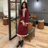 法式洋裝 法式復古燈芯絨連身裙2020年新款秋冬荷葉邊蝴蝶結減齡洋氣中長裙 伊蘿