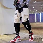 工裝褲男小腳直筒嘻哈潮褲子男寬松潮流束腳褲【時尚大衣櫥】