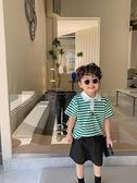 2021夏季新款兒童韓版條紋polo衫男童洋氣翻領短袖上衣寶寶半袖潮 幸福第一站