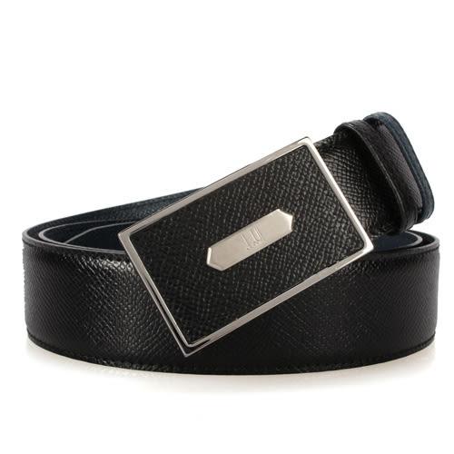 dunhill新款Bourdon扣式雙面皮帶(藍黑色)250586