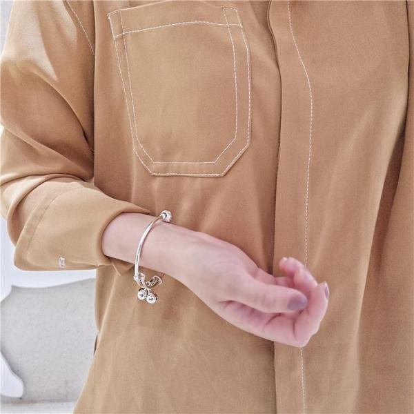 s925純銀電鍍轉運珠鈴鐺推拉手鐲女韓版小清新百搭氣質可調節手環