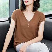 薄款2020夏季新款文藝寬鬆顯瘦V領冰絲針織衫短袖t恤女式大碼上衣 DR35970【Pink 中大尺碼】