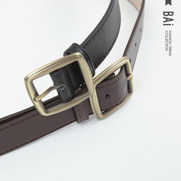 皮帶 純色霧面款復古金屬方環皮革腰帶-BAi白媽媽【306020】