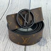 BRAND楓月 LOUIS VUITTON 路易威登 LV M0170 原花 經典 黑 LOGO 雙面皮帶  #110