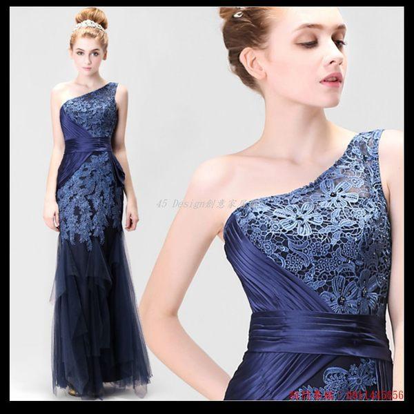 (45 Design  ) 藍色新娘單肩魚尾婚紗禮服伴娘服結婚晚裝敬酒服晚宴年會禮服