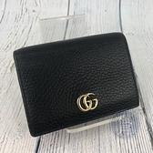 BRAND楓月 GUCCI 古馳 456126 黑色 經典GG紋 真皮二折短夾 錢包 錢夾 錢袋