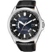 【台南 時代鐘錶 CITIZEN】星辰 電波光動能 洗練風格時尚腕錶 CB0180-11L 皮帶 黑/銀 43mm