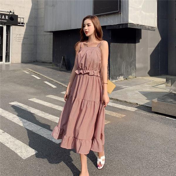 VK旗艦店 韓系復古格紋荷葉邊細肩帶套裝無袖裙裝