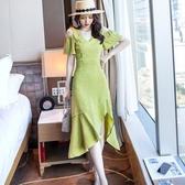 蘋果綠露肩腰身前分岔魚尾謝師宴晚宴洋裝顯瘦連身裙雪紡氣質修身洋裝[18057-QF]美之札