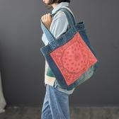 牛仔包包文藝復古牛仔布側背手提包女款水洗做舊拼接棉麻撞色女包休閒包包 JUST M