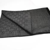 茱麗葉精品【全新現貨】GUCCI 165903 雙G緹花羊毛絲綢披肩圍巾/大絲巾.深灰黑