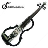 集樂城樂器 JYC SDDS-1309 彩繪琴身高級三段EQ電小提琴(白底黑花)