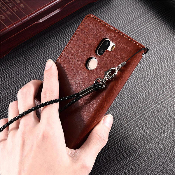 Xiaomi 小米手機 5s Plus 瘋馬紋保護套 皮紋側翻皮套 附掛繩 支架 插卡 錢夾 磁扣 手機套 手機殼