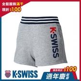 K-SWISS Contrast Waist Band Sweat Shorts棉質短褲-女-灰