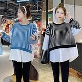 漂亮小媽咪 實拍 韓系 假兩件上衣【C5351】針織棉 拼接 條紋 襯衫 假二件 上衣