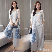 2018夏新款文藝民族風背心 褲子 外披三件套寬鬆大碼禪服套裝 DN14573『科炫3C』