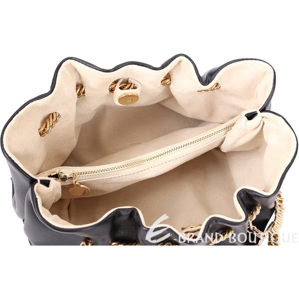 Stella McCartney Norma 抓褶穿鍊肩背包(黑色) 1541016-01