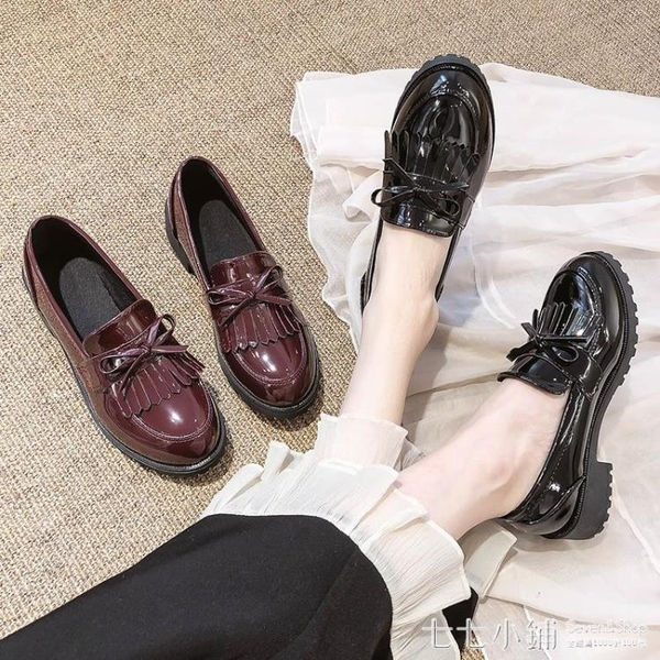 英倫風黑色小皮鞋女2019秋冬新款一腳蹬粗跟單鞋中跟工作韓版百搭