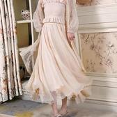 超仙女飄逸波光閃閃花瓣邊8米大擺金絲雪紡長裙子顯瘦紗裙半身裙 伊蘿